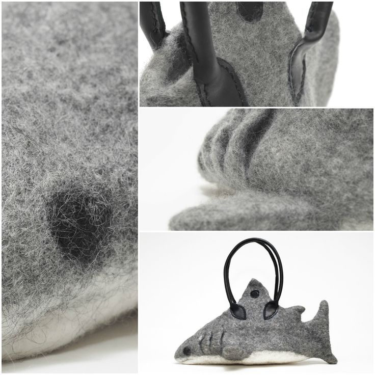 """SHARKBAG - SHARKPATRICK  Technique: felted Material: wool, leather, steel  Handbag made of grey and nature white merino wool. The handles are made of cow leather – Varga Andi´s work.  Extras: There is a pocket inside. The bottom is stiffened – to keep the """"belly"""" flat.  Size: cca. 25 x 25 x 30 cm (Height x Width x Length)  Other characteristics: gentle, friendly, housebroken"""