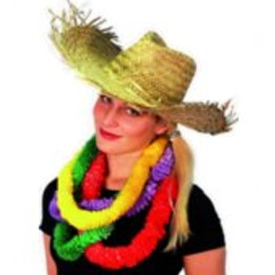 Straw Beachcomber Hawaiian Hat Perfect for Hawaiian and Tropical theme and Fancy Dress Costumes