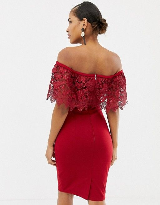 6e6452636d5 Paper Dolls lace overlay bardot pencil dress in red in 2019 ...