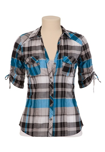 Cinched SleeveButton Front Plaid Shirt available at #Maurices