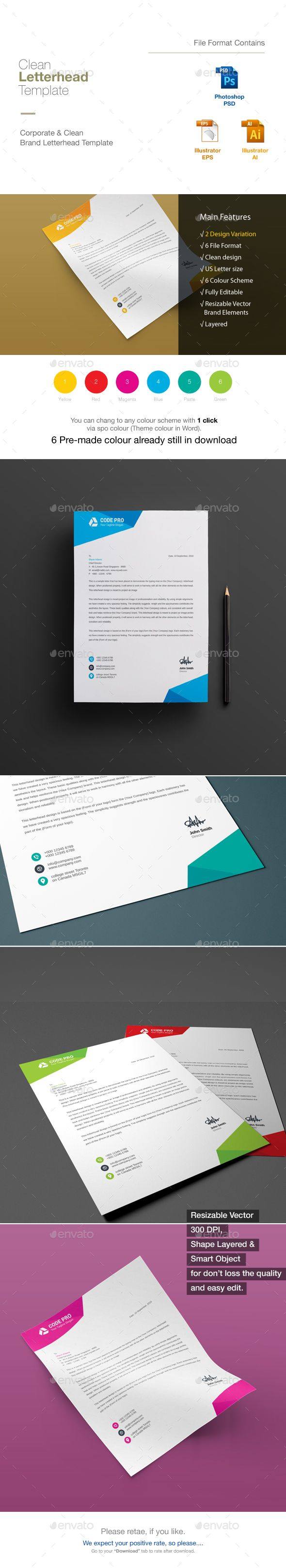 Letterhead — Photoshop PSD #corporate #bill • Download ➝ https://graphicriver.net/item/letterhead/18921948?ref=pxcr