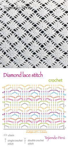 Crochet: diamond lace stitch diagram, #haken, techniek, steek, gratis diagram voor haakstreek, haakpatroon