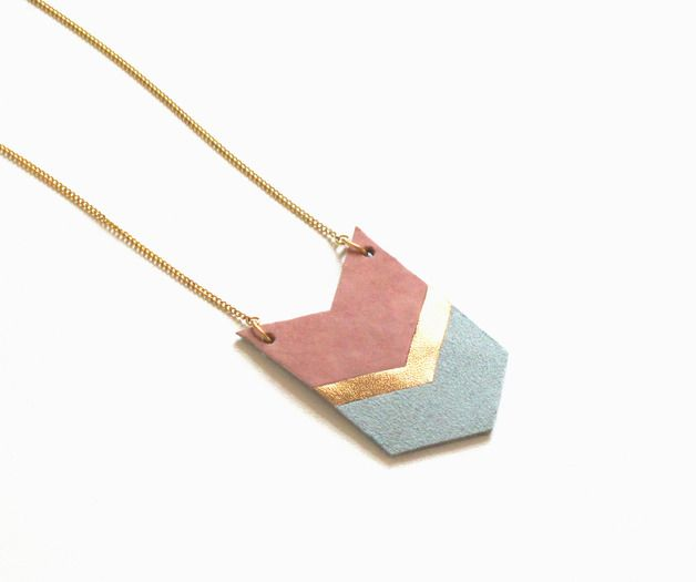 Long Necklaces – long leather necklace in rose/ gold / jade – a unique product by tilt on DaWanda