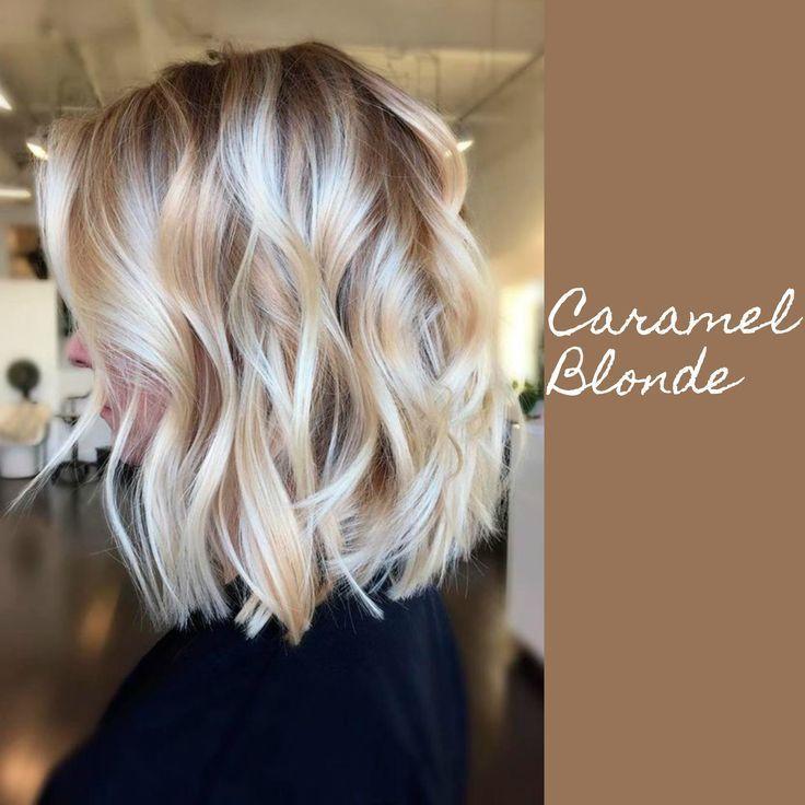 Blondes Haar mit Karamell-Lowlights # Karamellhaarfarbe