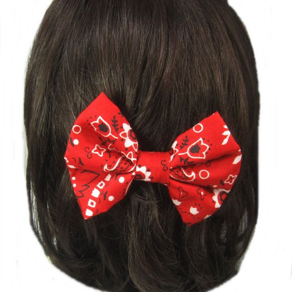 Red Bandana Hair Bow Girls Hairbow Fabric Hair Bow by ZNextDesigns, $4.00
