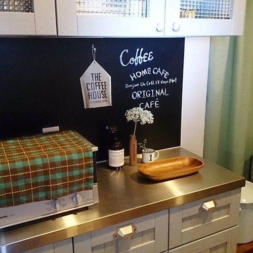キッチンに黒板シート