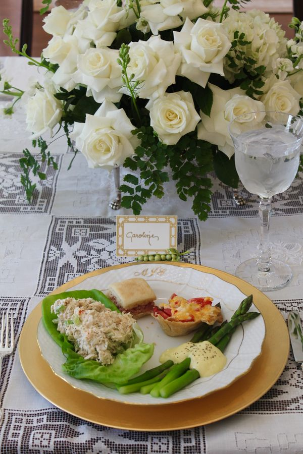 Hosting a bridal shower luncheon menu of chicken salad, tomato tarts, #Ladyfinger's Ham Rolls & Asparagus with 5-Minute Meyer Lemon Aioli