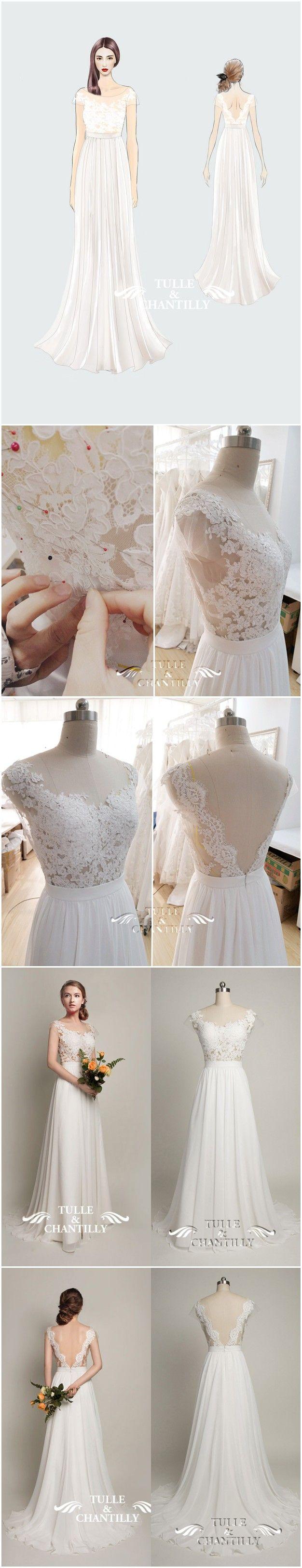 Fabulous  Design Your Own Wedding Dress Gorgeous Customized Long Chiffon Wedding Dress with Scalloped Lace V Shaped Back