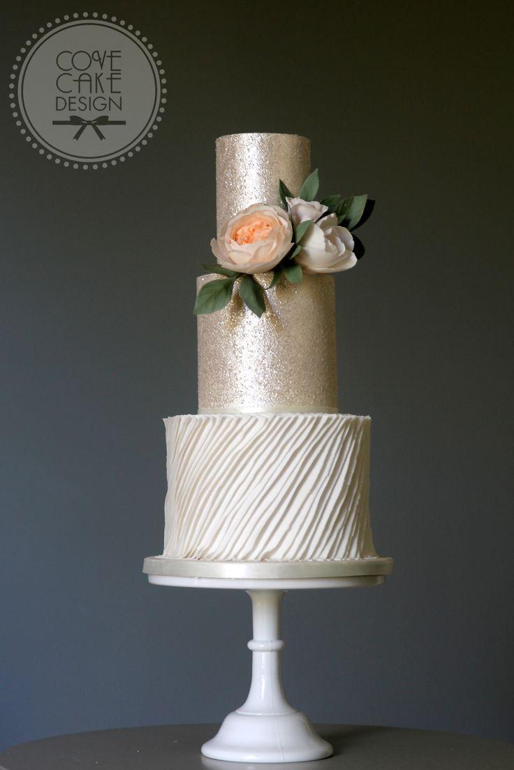 Glitter and ruffles wedding cake with David Austin sugar rose, sugar Garden rose and sugar foliage
