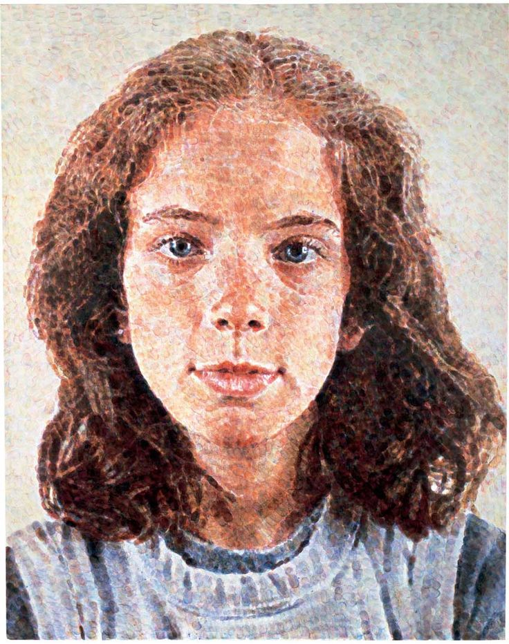 Chuck Close  Georgia/Fingerpainting, 1984  oil-based ink on canvas  48.12 x 38.12 in. (122.2 x 96.8 cm)