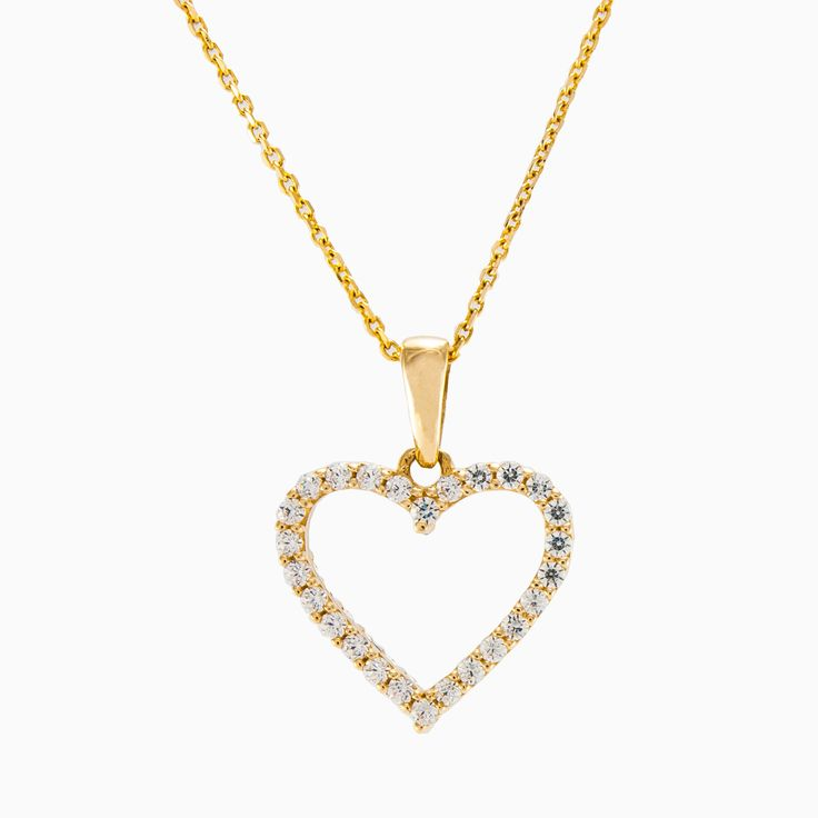 This petite open heart pendant crafted in 14k yellow gold set with sparkling crystals. The chain is not included.