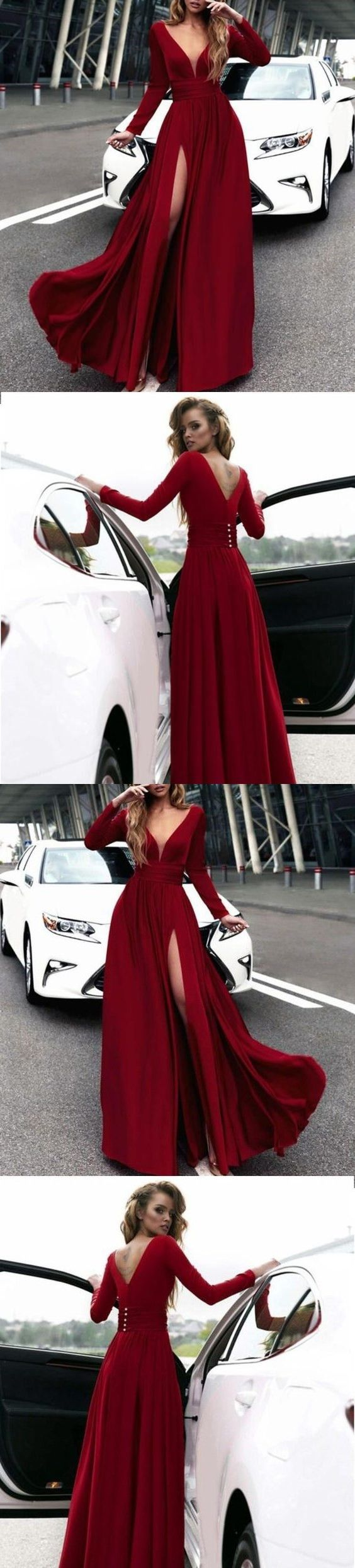 Long Sleeves Formal Evening Gown Wine Red,V Neck Prom Dress With High Slit G225#prom #promdress #promdresses #longpromdress #promgowns #promgown #2018style #newfashion #newstyles #2019newprom #eveninggown #wineredpromdress #longsleeve #vneckline #vback #highslit