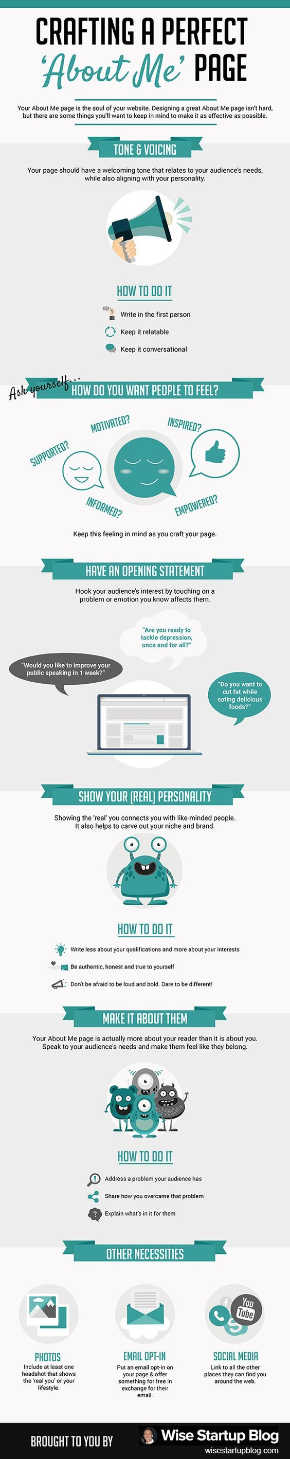 Are you ignoring one of the top 10 most popular pages on your site? If you haven't updated your about me page in the past year, then the answer is yes.  With this in mind, checkout the About Me Page: The Ultimate How to Guide and the accompanying infographic. | Blogging Tips