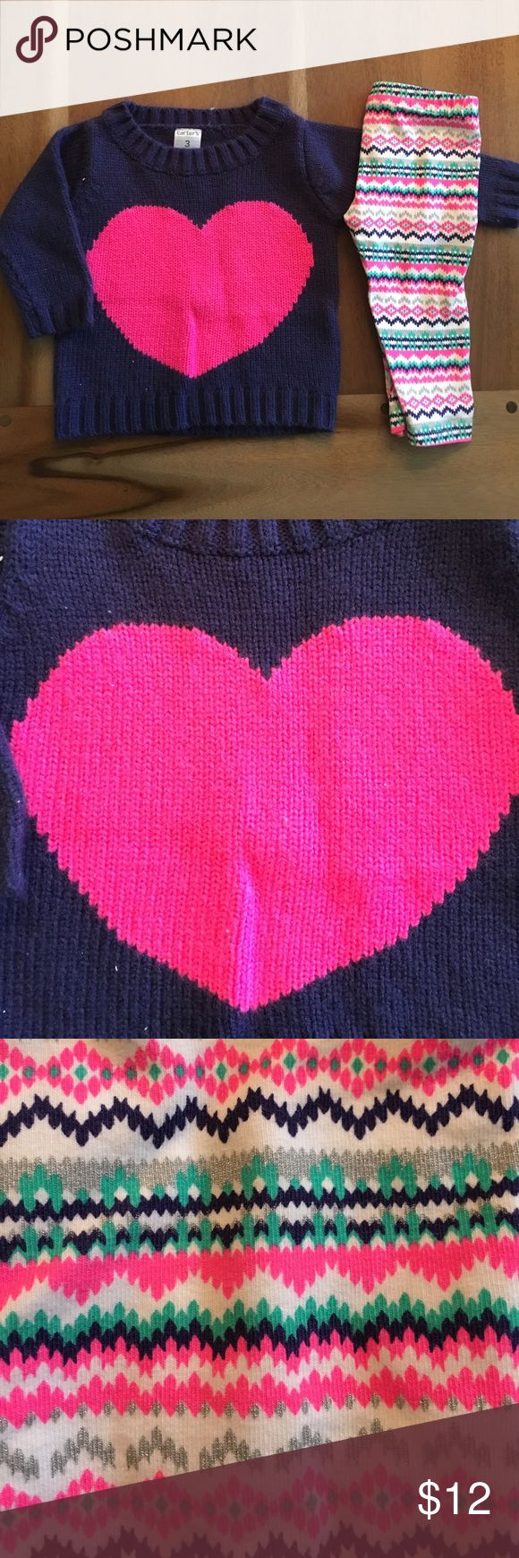 Carter's outfit Navy sweater with pink heart.  Some piling due to nature of fabric.  Aztec print pants to match. Carter's Matching Sets