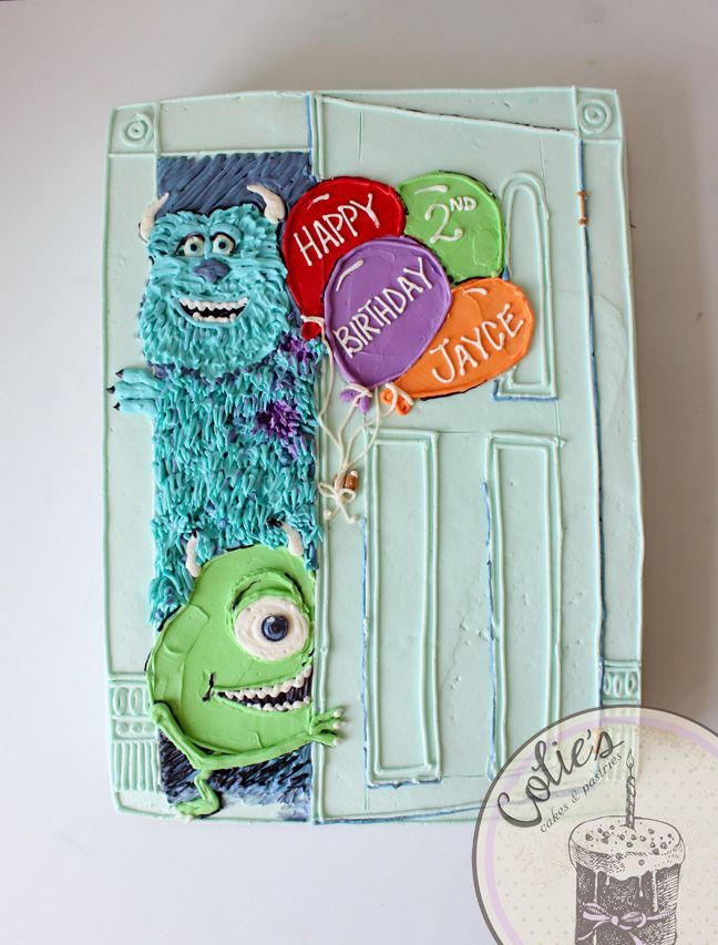 Monsters inc sheet cake.  mike and sully cake birthday cake