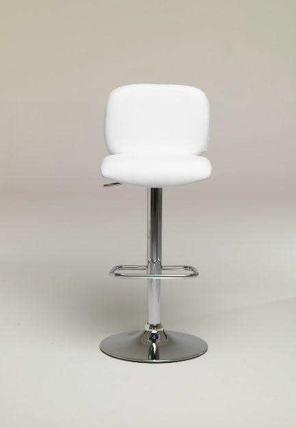 Sgabello Samir altezza variabile in metallo Friulsedie - L'altezza variabile e struttura in metallo cromato e seduta in ecopelle bianco, fango o antracite.