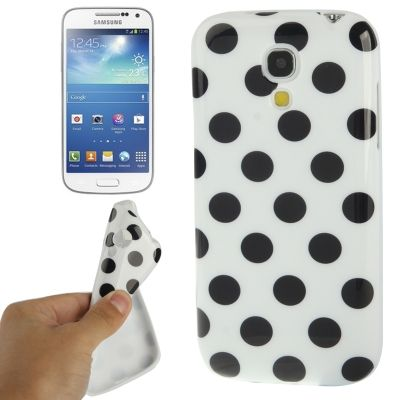 Samsung Galaxy S4 mini soft case, wit met zwarte stippen, dots, black & white