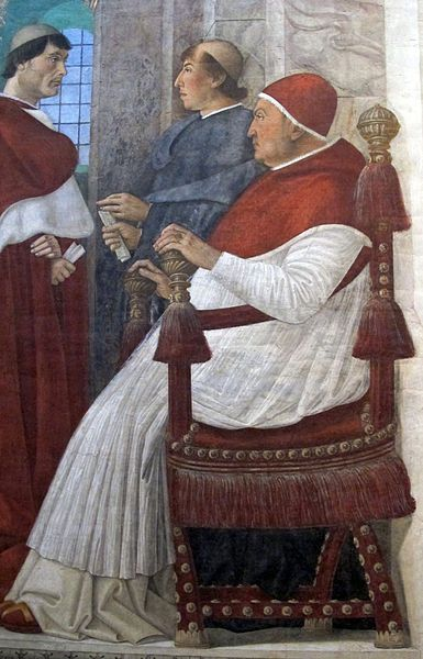 1475.Pope Sixtus IV appoints Bartolomeo Platina prefect of the Vatican Library.Melozzo da Forlì (1438-94)Melozzo shows Pope Sixtus IV (1414-1484) in a quadratura hall of pillars,painted according to the rules of centralized perspective.The pope is shown in the company of his nepotes Giovannino and Giuliano della Rovere(later became Pope Julius II),and 2 other courtiers (Girolamo and Rafaele Riario).