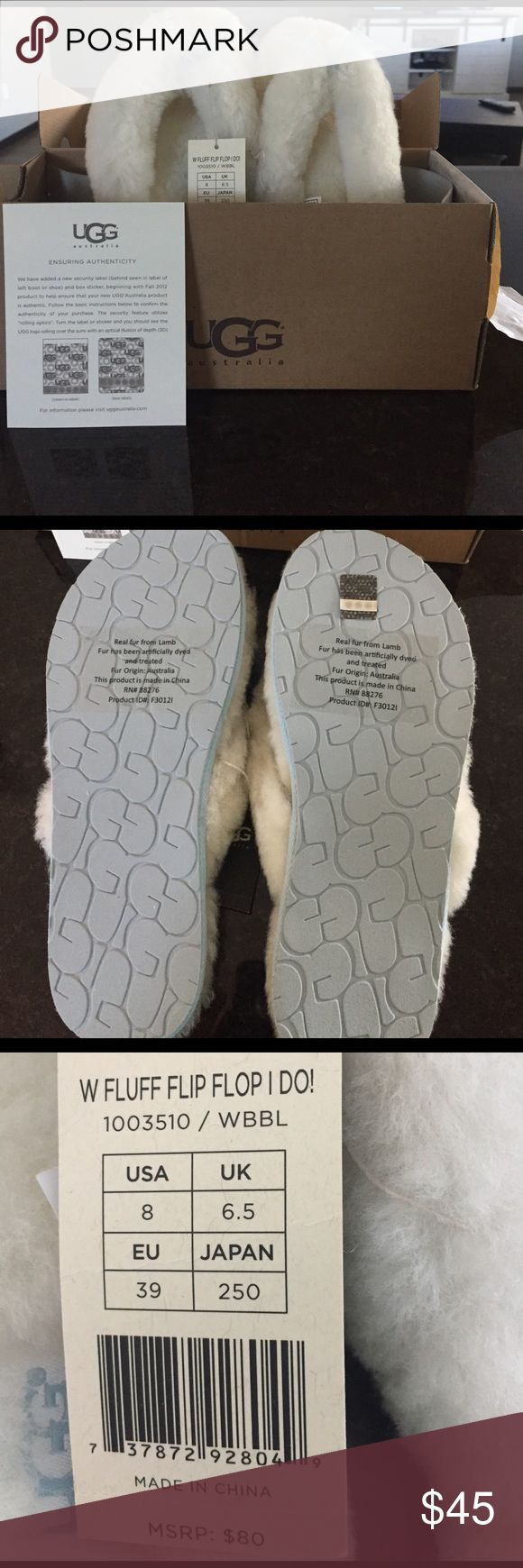 NWT ugg flip flop slippers Brand new with tags!!! Ugg blue and white flip flop slippers! UGG Shoes Slippers