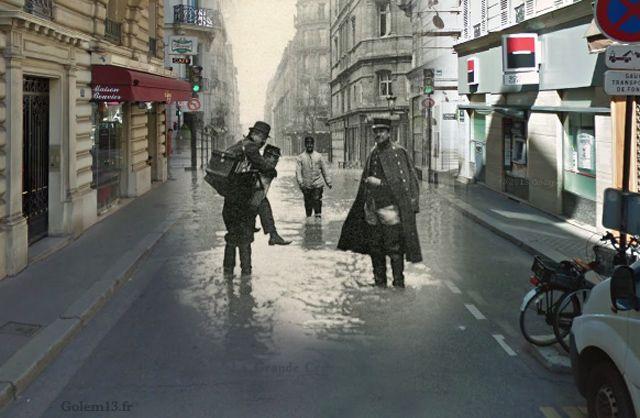 Rue de Bellechasse – 7e arrondissement, lors des inondations de Paris en 1910  (Crédit Image : Golem 13)