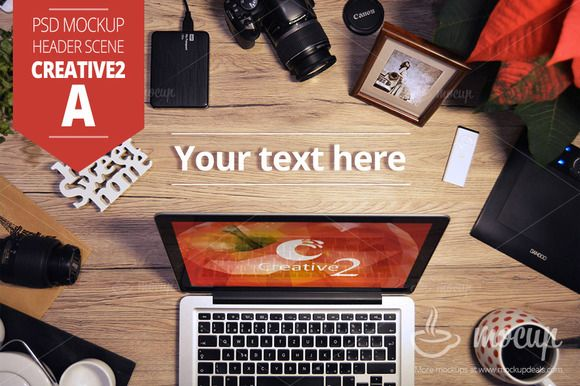 Check out Header PSD Mockup Creative 2 A by Mocup, mockupdeals.com on Creative Market