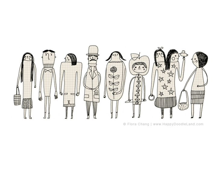 Doodled People, 8 x 10 Print by flora chang | HappyDoodleLand on Etsy