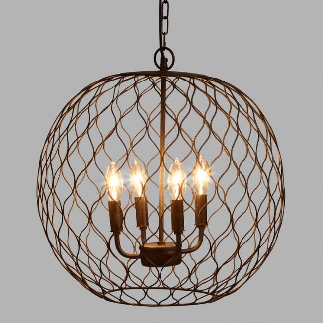 "Dark Bronze Globe Farmhouse Chandelier -$149; 17.25""diameter ONLY IF OVER COFFEE TABLE***"