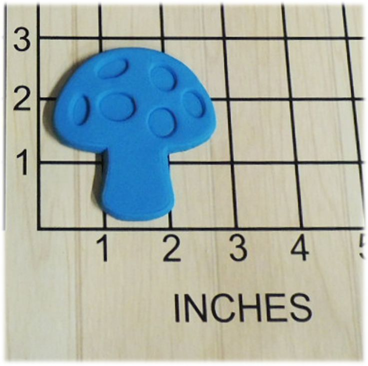 Mushroom Fondant Cookie Cutter and Stamp #1299. Mushroom Shaped Cookie Cutter and Stamp. This 3d printed plastic cutter makes the shape of a Mushroom. Some uses for this cutter are cookie dough, play doh, or fondant. The stamp will be made as a separate piece to accommodate any thickness of dough. Actual measurements can be seen in photo. Color of plastic will vary according to availability and may be different than shown. Please Note: Play Dough Sample Cookie is NOT INCLUDED.