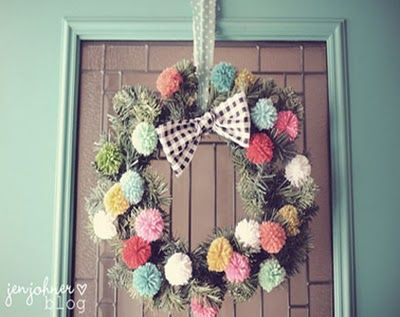 Pretty pom pom wreath! Clever! via junkgarden