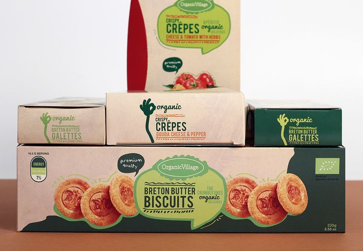 #organic #village #logo #design #packaging #biscuits #green #red #crispy #crepes #ateliernesenogay