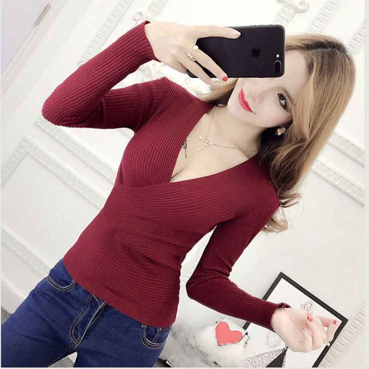 Blusas De Inverno Feminina 17 Winter Slim Long Sleeve Knitted Sweater Sexy V-Neck Women Sweaters Fashion Pullover Pull Femme