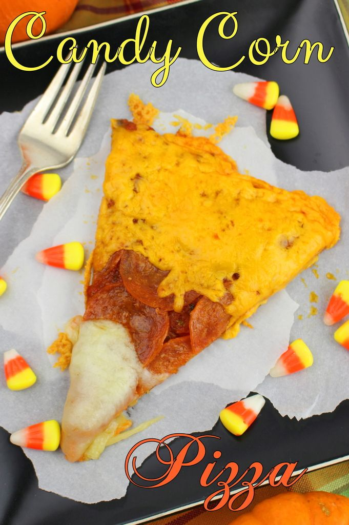 This easy to make Pepperoni and 2 Cheese Pizza with no-cook pizza sauce looks just like candy corn! What a perfect Halloween party treat!