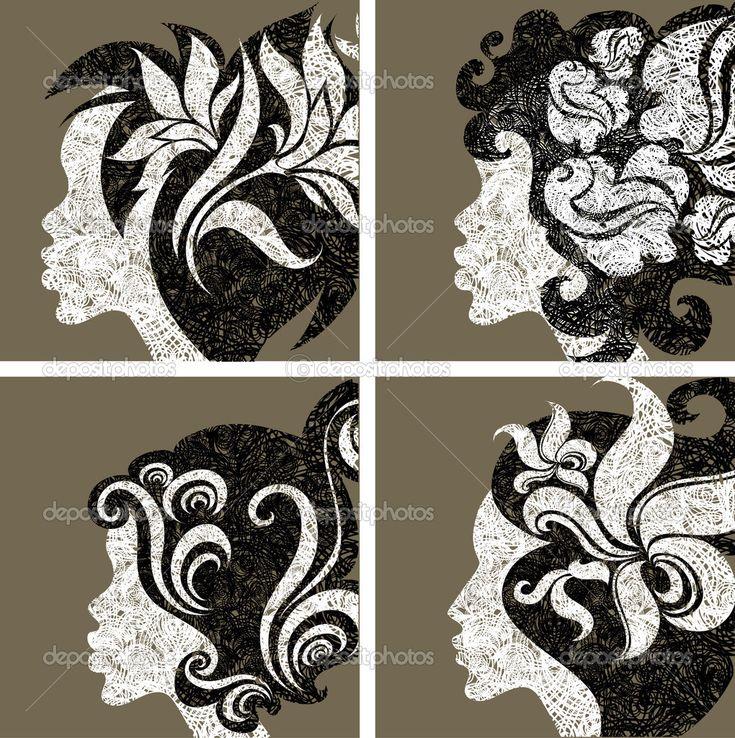 Векторный набор гранж ретро девушки волос с цветами — Стоковая иллюстрация #5897300