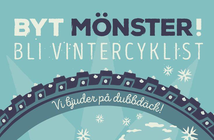 Byt mönster – bli vintercyklist! Om du cyklar i vinter bjuder vi på dubbdäck och reflexväst. Att vara vintercyklist värnar om miljön, plånboken och om den egna hälsan. Anta utmaningen att cykla året runt, och upptäck att det är ett