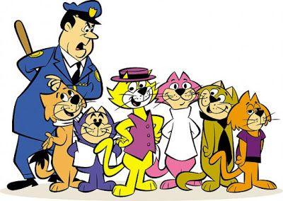 Top Cat (1961) La banda di Top Cat e formata da Benny la Palla (il gatto bassino blu, con la voce strana), Choo-Choo (quello rosa con il dolcevita bianco, secondo in comando), Spook (cravatta nera), Fancy-Fancy (sciarpone di Pegasus), Brain (maglietta viola, perennemente sotto l'influsso di potenti cannabinoidi) e l'Agente Dibble H24.