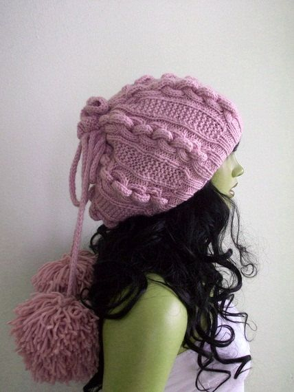 Soft Pink Knitting Hat or cowlscarf Pon pon hat ♥ by myknittingworld, $37.00