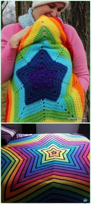 Crochet Beth's Little Star Afghan Free Pattern - Crochet Rainbow Blanket Free Patterns
