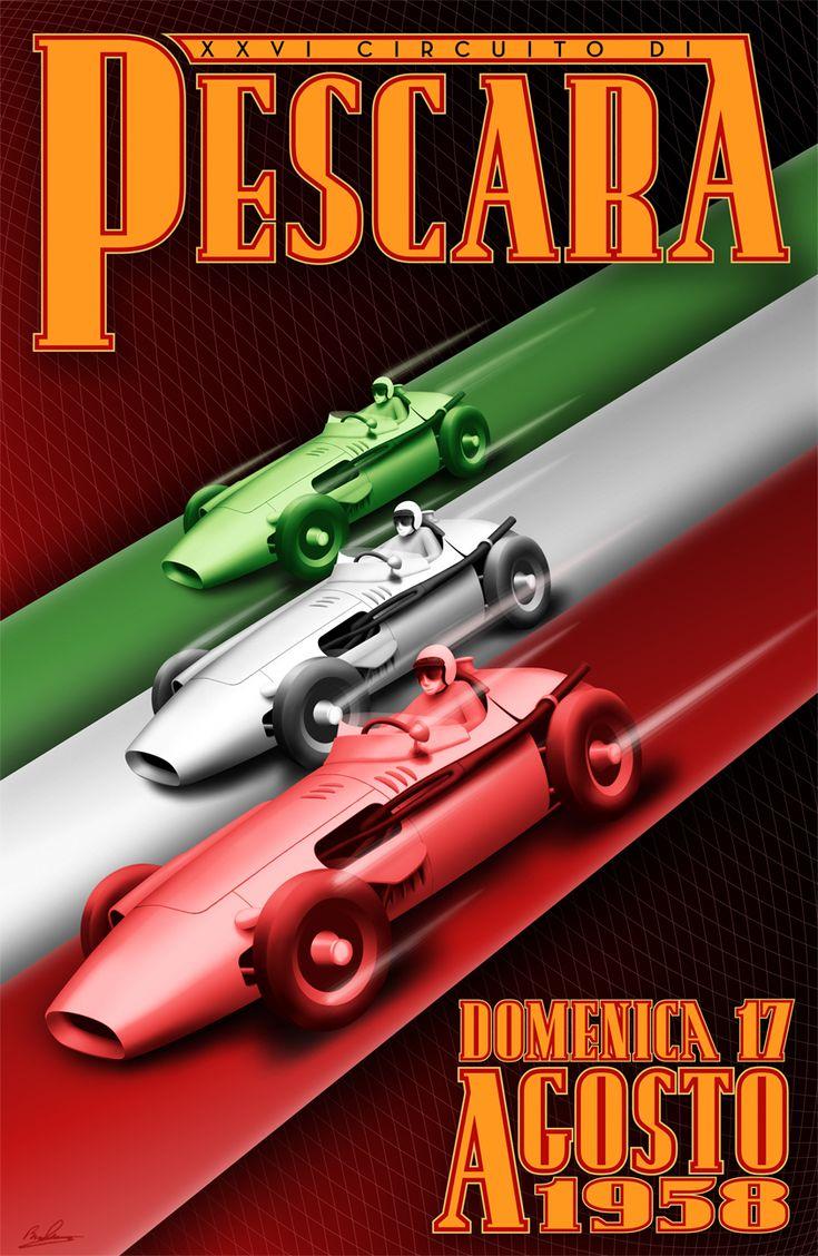 Vintage Italian Posters ~ #Italian #vintage #posters ~ Grande Premio Pescara 1958