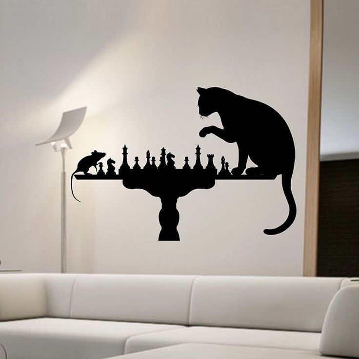 Cat Playing Chess With Mouse Wall Stickers   Vinyl Removable Creative Wall  Decals