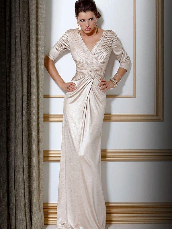 Sheath/Column V-neck 1/2 Sleeves Ruched Floor-length Silk like Satin Mother Of The Bride Dresses