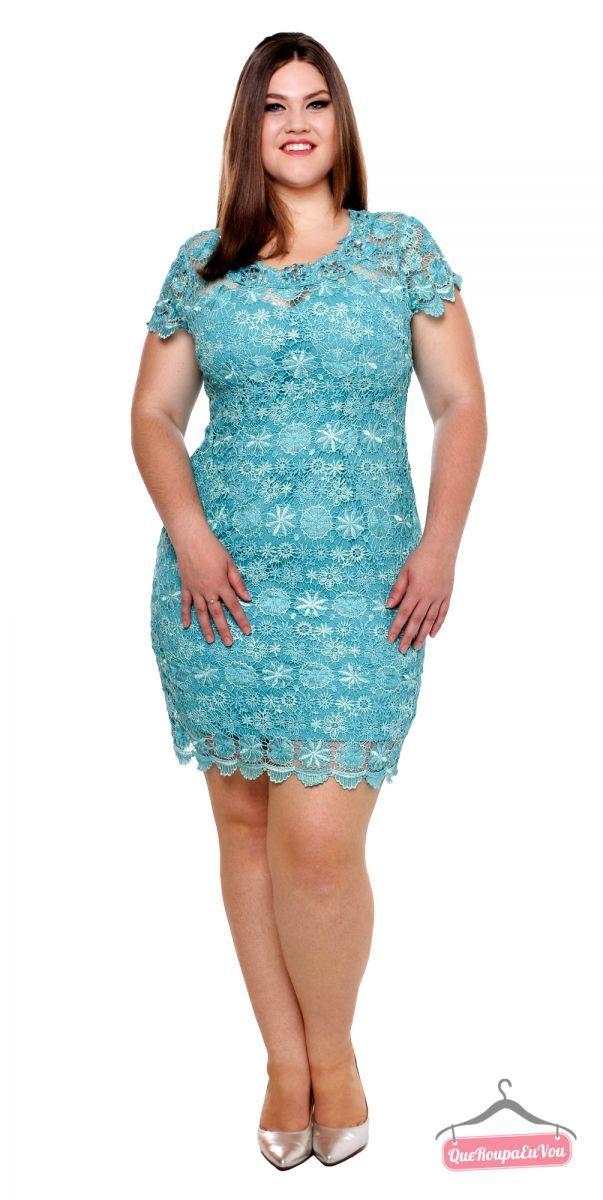 886d8a7e30 Vestido curto azul Tiffany rendado Plus Size J47 in 2019
