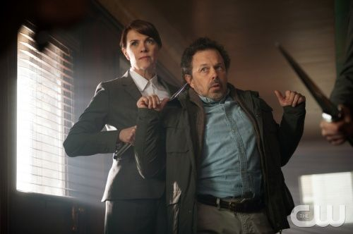 """Supernatural -- """"Sacrifice"""" -- Image SN823a_0232 -- Pictured (L-R): Amanda Tapping as Naomi and Curtis Armstrong as Metatron -- Credit: Diyah Pera/The CW --   2013 The CW Network. All Rights Reserved"""