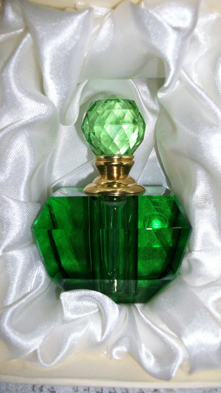 Deep Green Emerald Murano Style Crystal Glass Perfume Bottle