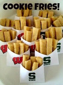 Cookie Fries - Gameday Special!  W/ link to printable fry bags. Would look great w/ a maroon A&M.