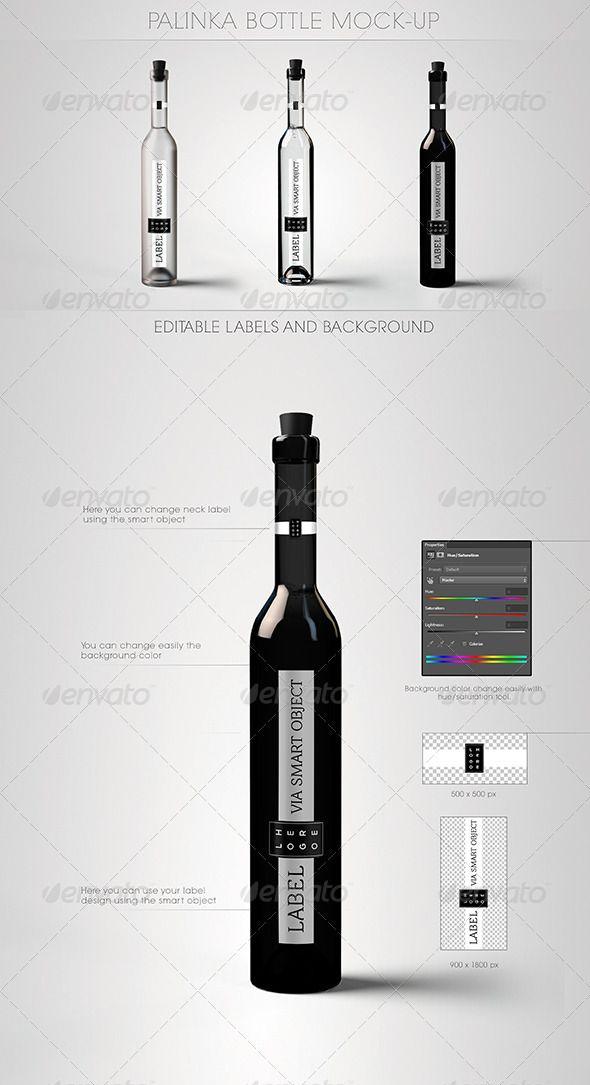 Palinka Bottle Mock-Up - Food and Drink Packaging