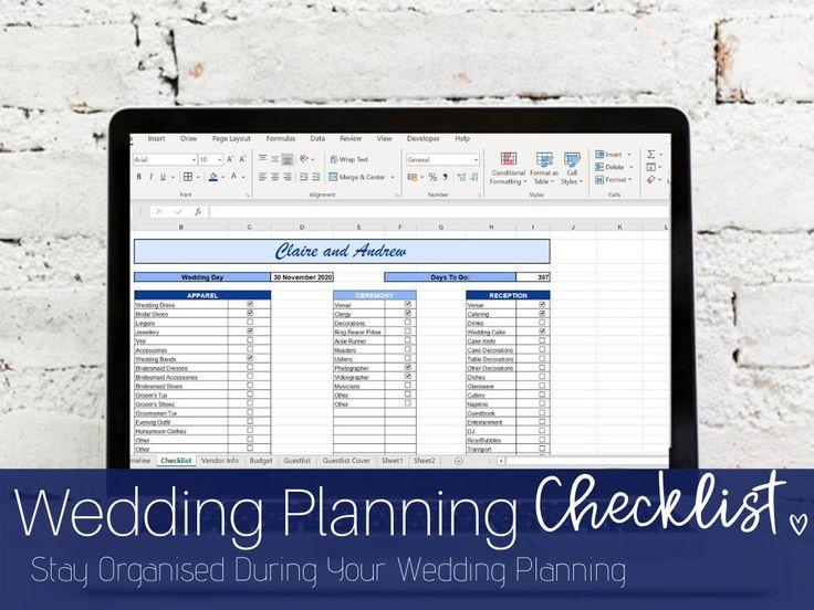 Wedding Checklist Excel, Personalized Wedding Planner, wedding itinerary, w… in 2020 ...