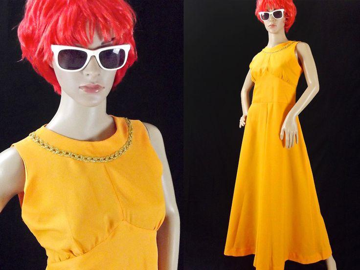 60s Evening Dress / Size M / Bright Orange / Gold Trim / Princess Dress / Full Skirt / Vintage Maxi Dress / MOD Glamour / Bohemian Wedding by VintageSquirrels on Etsy