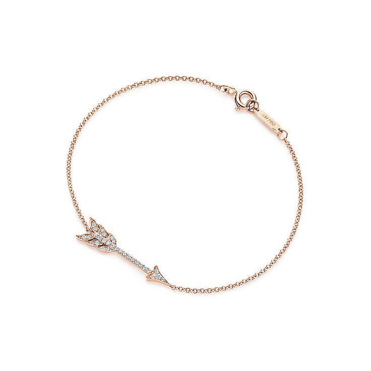 Tiffany & Co. -  Tiffany Hearts® arrow bracelet in 18k rose gold with diamonds, medium.