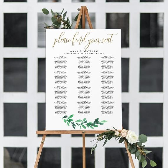 Gold Seating Chart Template Greenery Gold Wedding Seating Chart Pdf Table Assignment Char Seating Plan Wedding Table Arrangements Wedding Seating Chart Wedding