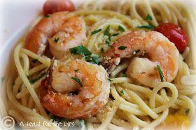 A Feast for the Eyes: Ina Garten's Spaghetti Aglio E Olio with Shrimp & Garden Fresh Tomatoes